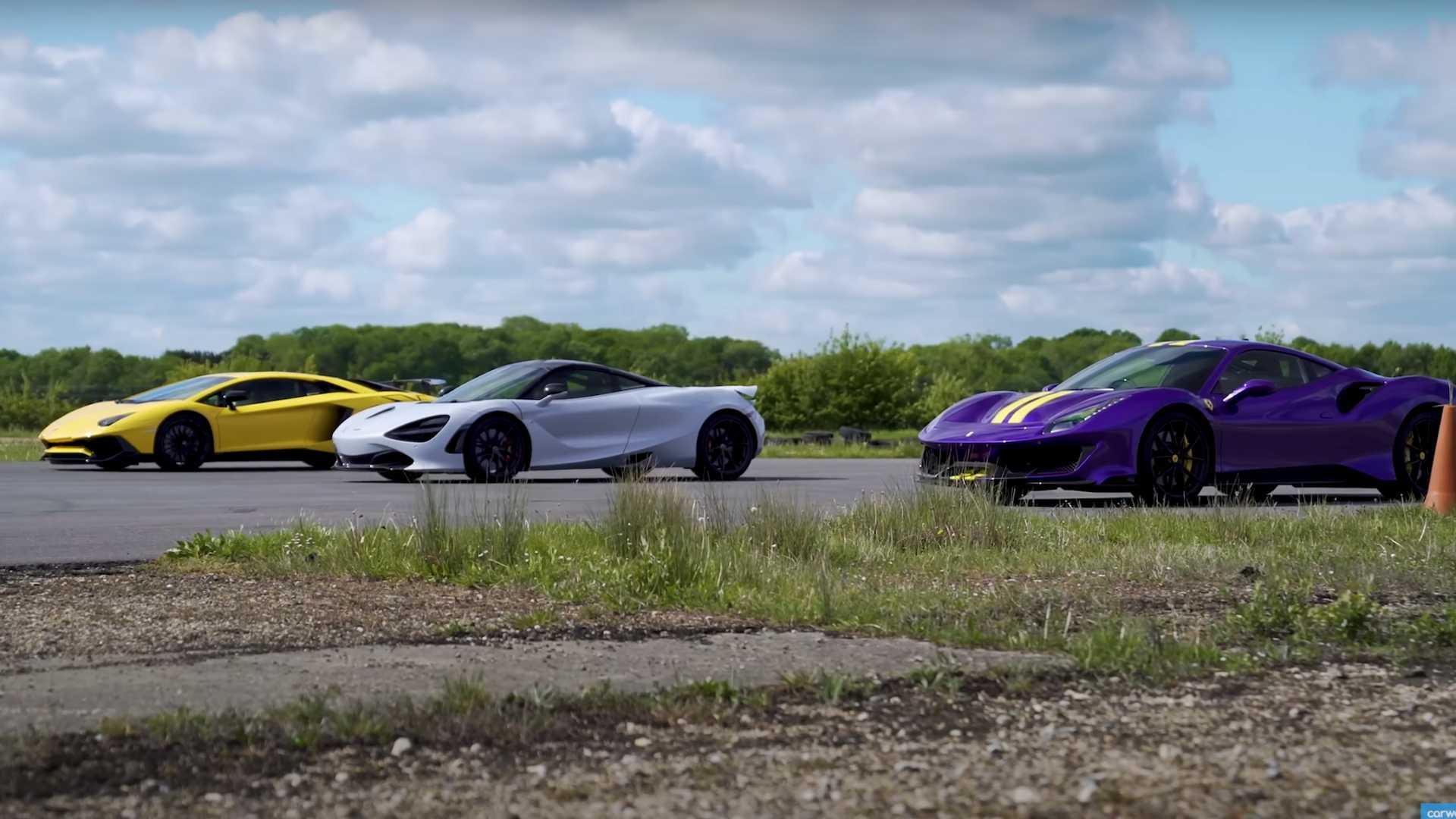 McLaren 720S, Ferrari 488 Pista, Lamborghini Aventador SV Drag Race